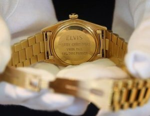 LONDON, ENGLAND - NOVEMBER 23: A 1976 Rolex given to Elvis Presley by Colonel Tom Parker is shown at Christie's on November 23, 2012 in London, England. Estimated at 6000 - 8000 it forms part of Christie's Pop Culture sale on November 29 in London. (Photo by Peter Macdiarmid/Getty Images)